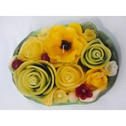 Yellow Rose Mix on Green Leaf Candle